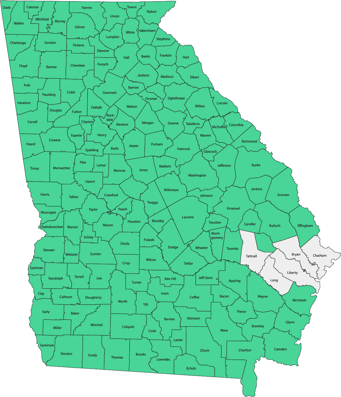 Availability by County in Georgia