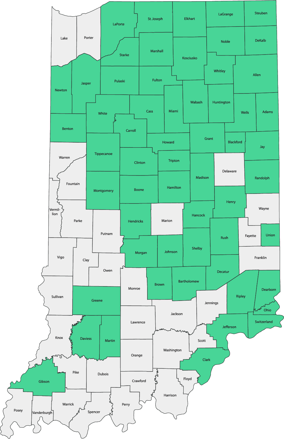 Availability by County in Indiana