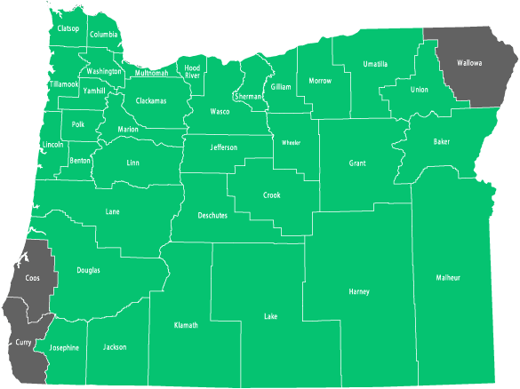 Availability by County in Oregon